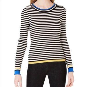 Maison Jules Striped Ribbed Knit Sweater - Black
